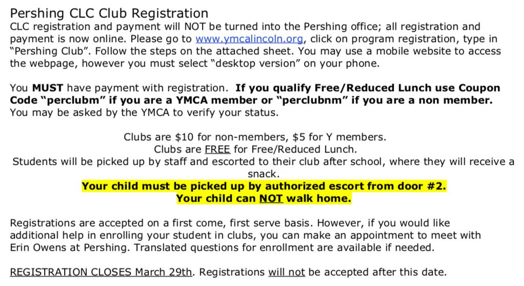 YMCA – CLC – Pershing Elementary